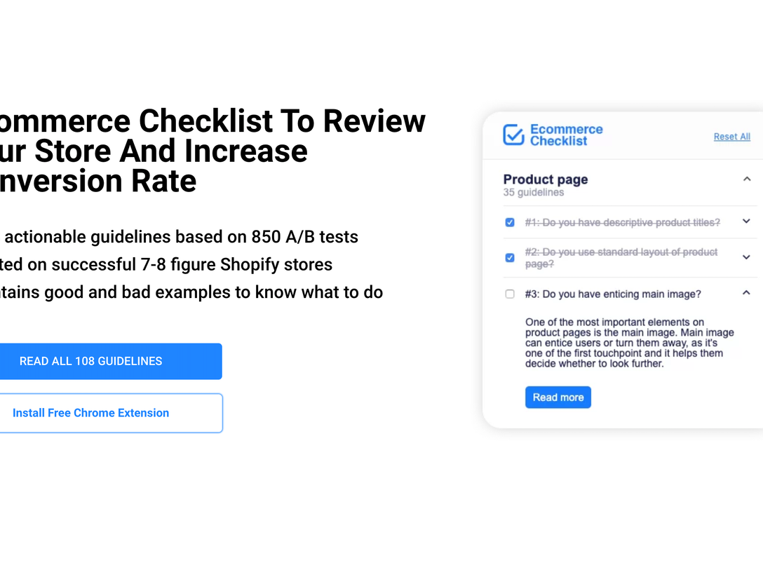 Ecommerce Conversion Checklist